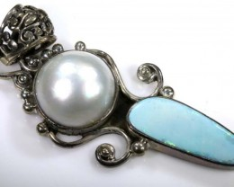 70.70 cts DOUBLRT OPAL PENDANT WITH PEARLOF-1558