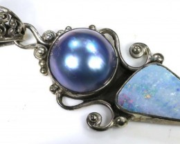 42 CTS SILVER DOUBLET OPAL PENDANT OF-1560