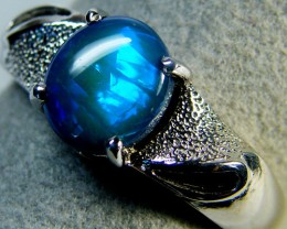 BLACK OPAL WHITE GOLD RING SIZE 5 EN996[OA]