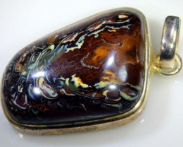 145 CTS BOULDER OPAL STERLING SILVER PENDANT OF-1593