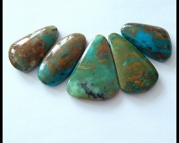 5 PCS Natural Peruvian Blue Opal Gemstone Cabochons
