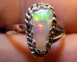 Sz 6.5 Welo Opal .925 Silver Taxco Handmade Ring