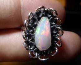 Sz 7.5 Natural Ethiopian Opal .925 Silver Taxco Handmade Boho Ring Men's Je