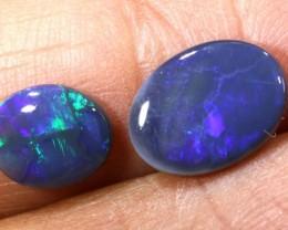 N2- 1.65 CTS Solid Black Opal Lightning Ridge parcel 2 stones ANO-377