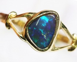 18c tBright freeform  Black opal 18kl  Gold Ring setting BU2433