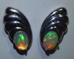 14.70 ct 925 Silver Gem Rainbow Opal Earrings