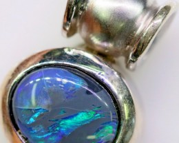 Cute Black  Opal Pendant in Sterling silver  SB 312