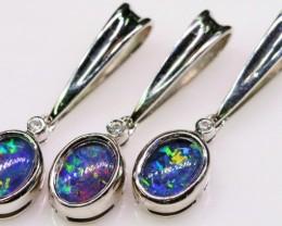 Three Cute   Triplet Opal Pendants in Sterling silver  SB 322