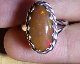 Sz 7.5 Natural Rough Ethiopian Opal .925 Silver Taxco Handmade Boho R