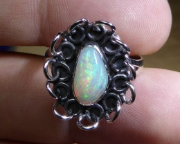 Sz 8 Natural Ethiopian Opal .925 Silver Taxco Handmade Boho Ring Men's Jew