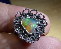 Sz 6.5 Natural Ethiopian Opal .925 Silver Taxco Handmade Boho Ring Men's Je