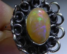 Sz 7 Natural Ethiopian Opal .925 Silver Taxco Handmade Boho Ring Men's Jew