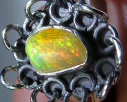 Sz 8 Natural Ethiopian Opal .925 Silver Taxco Handmade Boho Ring Men's Jew