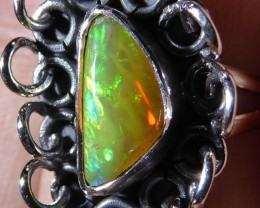 Sz 7 Natural Ethiopian Opal .925 Silver Taxco Handmade Boho Ring Men's Jew