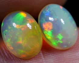 BRILLIANT PAIR PATCHWORK FIRE MULTY PLAY COLOR WELO OPAL 2.60 CRT