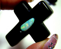 75 CTS INLAY PENDANT -SOLID OPAL IN BLACK ONYX DRILLED TBO-5042