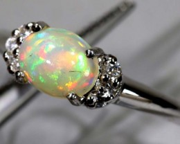 15.40 CTS ETHIOPIAN OPAL SILVER RING OF-1605