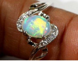 12.60 CTS ETHIOPIAN OPAL SILVER RING OF-1609