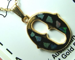 OPAL INLAY GOLD PLATED PENDANT 22.50 CTS OF- 1638