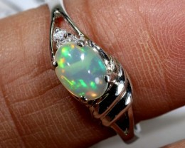 9.95 CTS ETHIOPIAN OPAL SILVER RING OF-1619