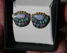 STUNNING 18k Gold Opal Inlay Earrings DAVID FREELAND JNR