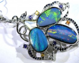 100.50 CTS SILVER DOUBLET OPAL PENDANT WITH GEMSTONES OF-1630