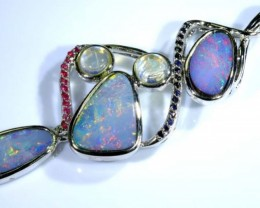 61.60 CTS SILVER DOUBLET OPAL PENDANT WITH GEMSTONES OF-1636