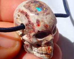 $1 NR Auction 70ct Skull Mexican Cantera Figurine Opal Pendant