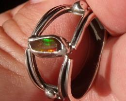 Bezel set Natural Solid opal gem taxco silver ring sz 6.5