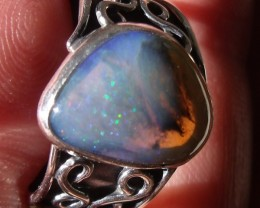 Bezel set Natural Solid opal gem taxco silver ring sz 7.5