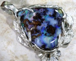 135 CTS BOULDER OPAL STERLING SILVER PENDANT OF-1687