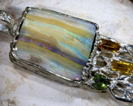 143.70 CTS BOULDER OPAL STERLING SILVER PENDANT OF-1693