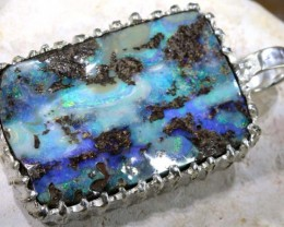 138.05 CTS BOULDER OPAL STERLING SILVER PENDANT OF-1694