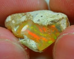 6cts Natural Reddish Silky Fire Ethiopian Welo Rough Specimen Stone