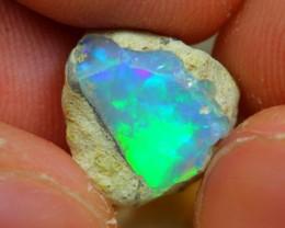 4cts Natural Aurora Green Ethiopian Welo Rough Specimen Stone