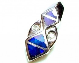 5.5 CTS   DOUBLET OPAL SILVER PENDENT OF-1758