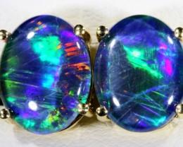 Stylish Triplet Opal Earring set in 9 k Gold  SB 367