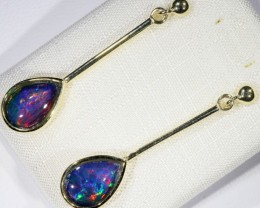 Stylish Triplet Opal Earring set in 9 k Gold  SB 371