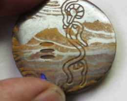 77.5 Aboriginal art on boulder Opal ex Bertas Opal collection PPP 497