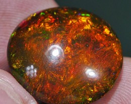 12.65 CRT AMAZING GOLDEN FIRE PEACOOCK ART PATTERN SMOKED OPAL*