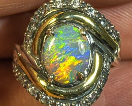 Semi-Black Opal Two Tone Sterling Silver with 9K Yellow Gold Ring Size 6.5