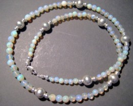 Australian Mintabie Crystal Opal Bead and Sterling Silver Necklace