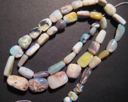 78ct Australian Lightning Ridge Freeform Opal Bead Strand, 16""