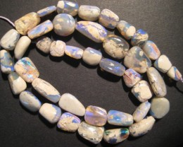 "97ct Australian Lightning Ridge Opal Bead Strand, 16"""