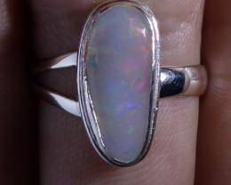 Sz 7 Natural Ethiopian Opal .925 Silver Taxco Handmade Boho Ring