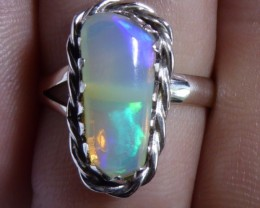 Sz 5.5 Natural Ethiopian Opal .925 Silver Taxco Handmade Boho Ring Men's Je