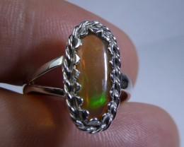 Sz 6 Natural Ethiopian Opal .925 Silver Taxco Handmade Boho Ring