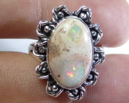 Sz 7 Natural Mexican Fire Opal .925 Silver Taxco Handmade Boho Ring Jewelry