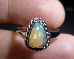 Sz 6.5 Natural Ethiopian Opal .925 Silver Taxco Ring