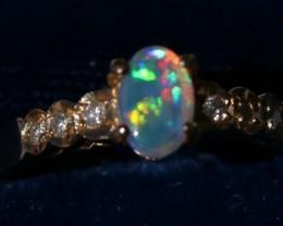 Stunning Lightning Ridge 6 Diamond  Opal Ring 15 Cts